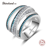 Shineland Luxury Women Wedding Rings 100 925 Sterling Silver Jewelry Blue Stone CZ Crystal Stackable Finger
