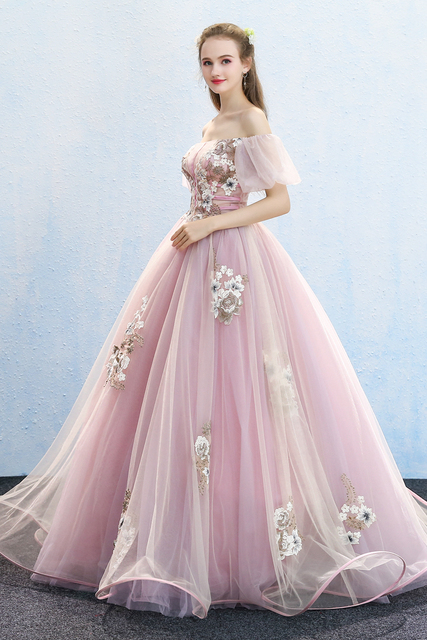 100real Bubble Sleeve Princess Ball Gown Queen Gown