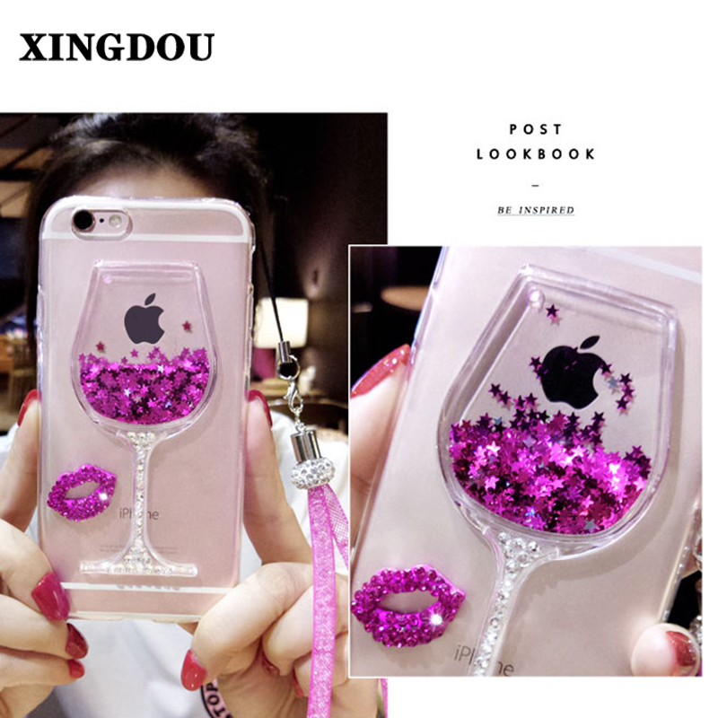 XINGDUO Quicksand Bling Rhinestone Wine Glass Pattern Phone Case with Hang Rope For Samsung galaxy S7/6/5/4/S7EDGE/Note7/5/4