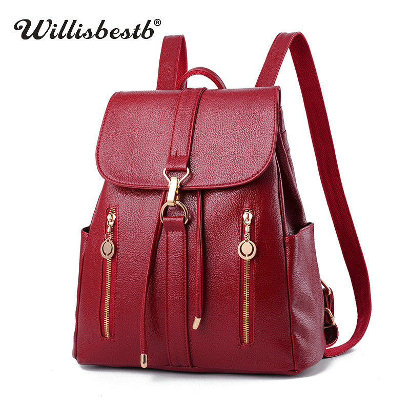 Autumn New Soft Women Backpack Girl Casual College Daypack Black Female Backpacks Lady Travel Zipper Pocket Leather School BagsAutumn New Soft Women Backpack Girl Casual College Daypack Black Female Backpacks Lady Travel Zipper Pocket Leather School Bags