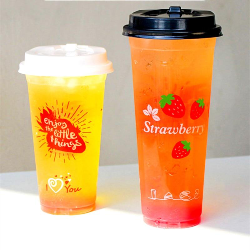 50pcs Fruit Strawberry Pattern 90 Caliber Disposable Thick Plastic Cup Transparent Juice Milk Tea Packaging Cups