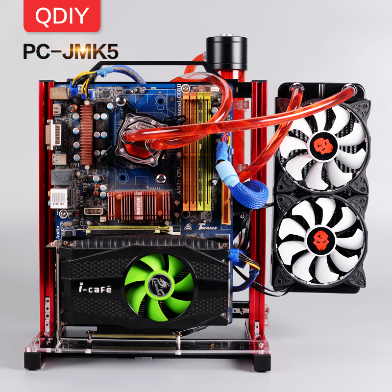 QDIY PC-JMK5 Custom Open Aluminum Block Water Cooling Platform Game Play PC Motherboard Computer Frame Chassis Bracket