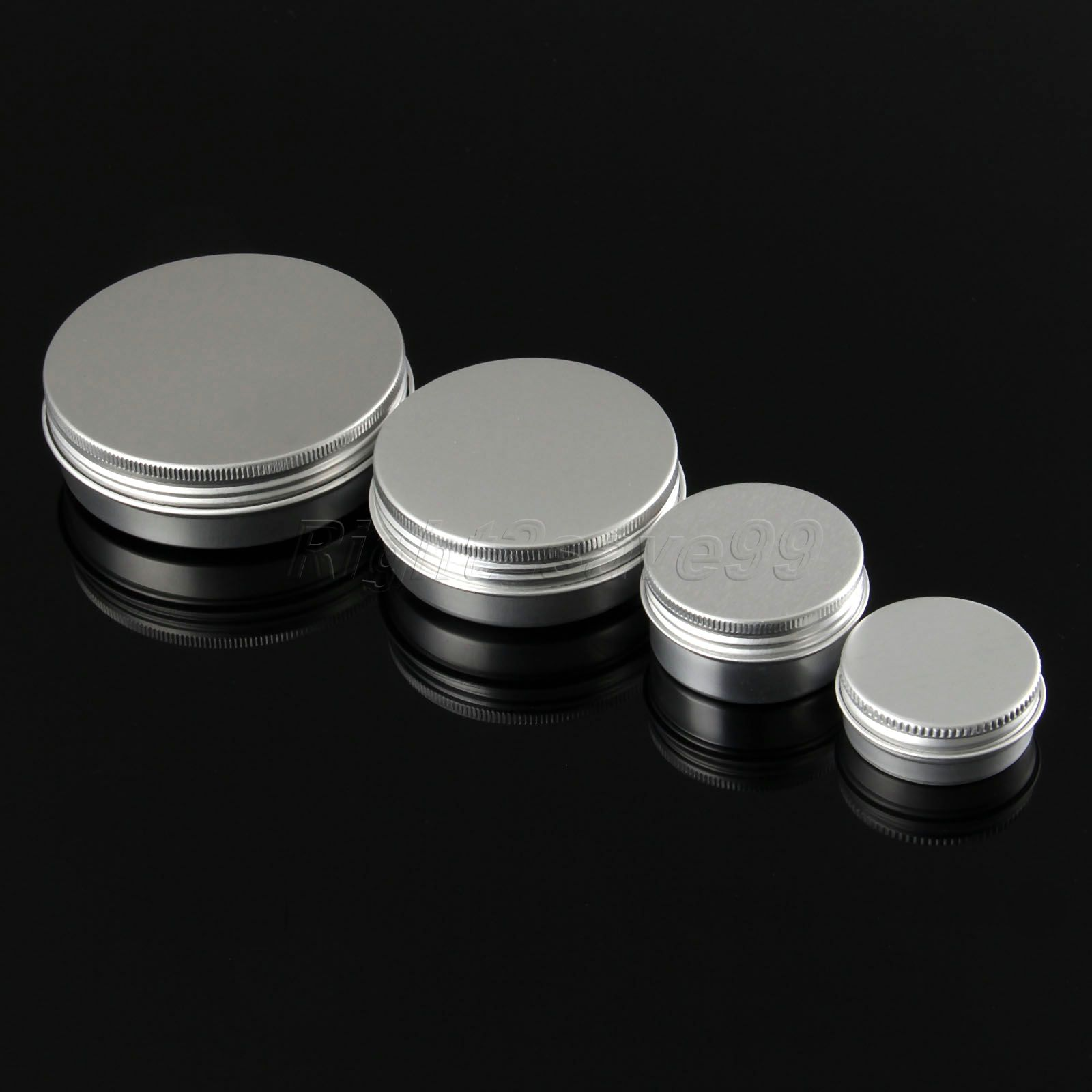5PCS Aluminium Cosmetic jar 15g 30g 60g 100g Metal Cream Jars with screw lid Silver tin container bottle candle can empty box 6 pcs 15g 30g 50g 1oz empty upscale refillable black cosmetics cream glass bottle container pot case jar with black lid