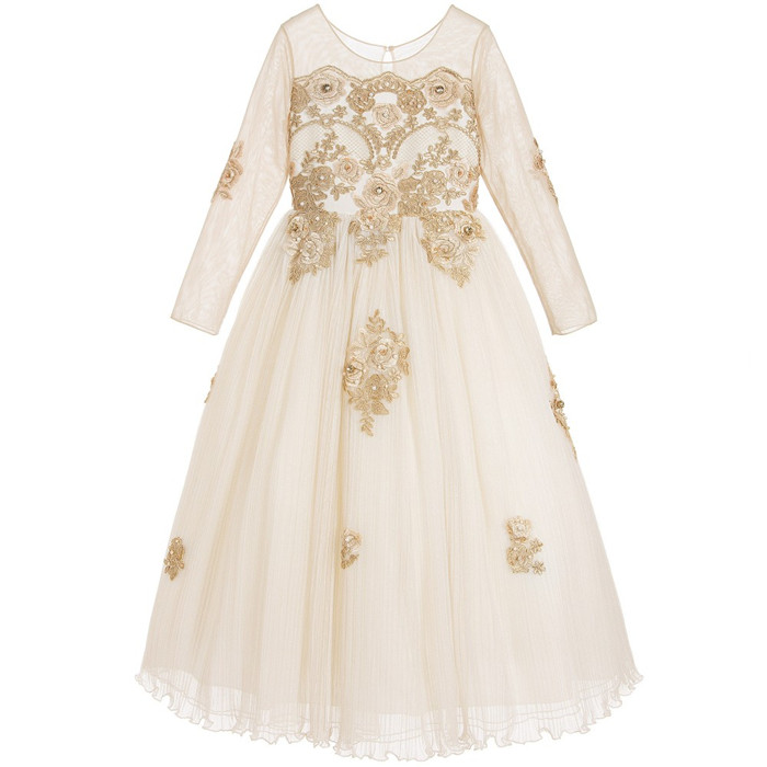 Vintage Customized Flower Girl Dress Floral Buttons Back Pleated Long Sleeves First Communion Dress Kids Pageant Gown 2017 sun flower print pleated dress