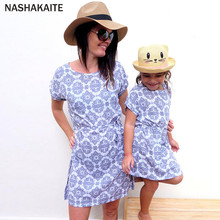 ФОТО nashakaite mother daughter dresses china pattern print short sleeve with belt mom and daughter dress family matching clothes