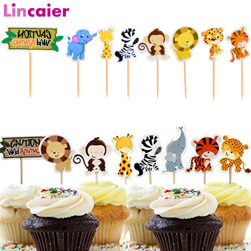 Lincaier 24pcs Safari Jungle Animal Cupcake Toppers Birthday Cake Topper Party Decoration Kids Baby Shower Boy Girl Supplies