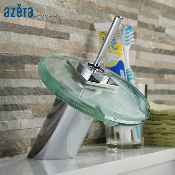 Robinet de bassin en verre cascade rond moderne chromé robinet de bassin d'eau froide et chaude monté sur le pont de salle de bains MK2106B
