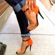 2019 New Summer Style Orange Stiletto Sandals Contrast Color Party Shoes For Woman Big Size 42 Drop Shipping