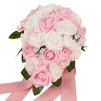 Yapay Ipek Çiçekler Buket Köpük Güller Düğün Buket Gelin Buket Dantel Dekorasyon Doğal Inciler Düğün Çiçekler
