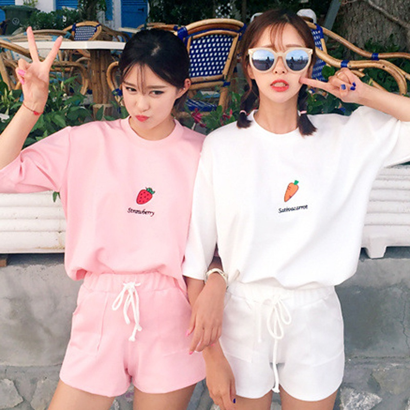 2 Pcs/Set Summer Women T Shirt Set Fashion 2 Piece Suit  Cartoon Print T Shirt & Lace Up Pocket Short Pant Set