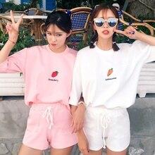 2 unids/set de camisetas de verano para mujer, conjunto de 2 piezas de moda, Camiseta con estampado de dibujos animados y conjunto de pantalón corto con bolsillo de encaje
