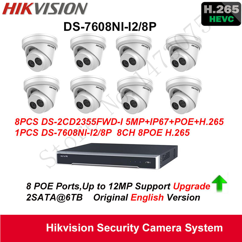 Hikvision Security Camera System 5MP Turret IP Camera 8pcs DS-2CD2355FWD-I POE IP67 with 8ch POE H.265 NVR DS-7608NI-I2/8P 2SATA hikvision original outdoor cctv system 8pcs ds 2cd2t55fwd i8 5mp h 265 ip bullet camera ir 80m poe 4k nvr ds 7608ni i2 8p h 265