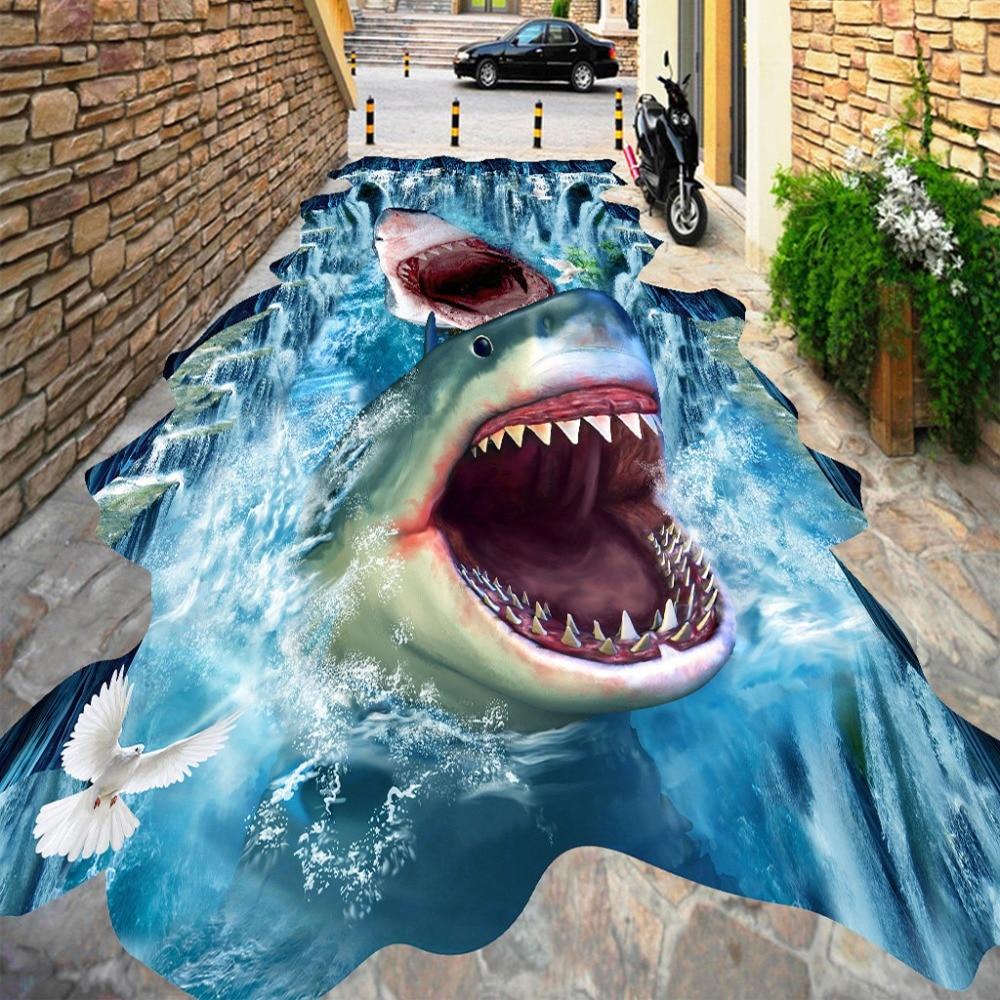 Custom Photo 3D Flooring Mural Sharks Waterfall 3D Stereoscopic Floor Stickers Waterproof Thickened Self-adhesive PVC Wallpaper