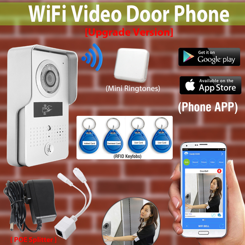 Wireless Wifi 3G 4G Video Door Phone Intercom Doorbell system Night vision Camera+Indoor Bell+RFID card for IOS/Android phone 2016 new wifi doorbell video door phone support 3g 4g ios android for ipad smart phone tablet control wireless door intercom