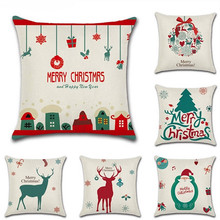 1 pc Cartoon Pillowcase Merry Christmas Santa Claus Elk Tree Printed Pillow Case Xmas Gifts 45x45cm