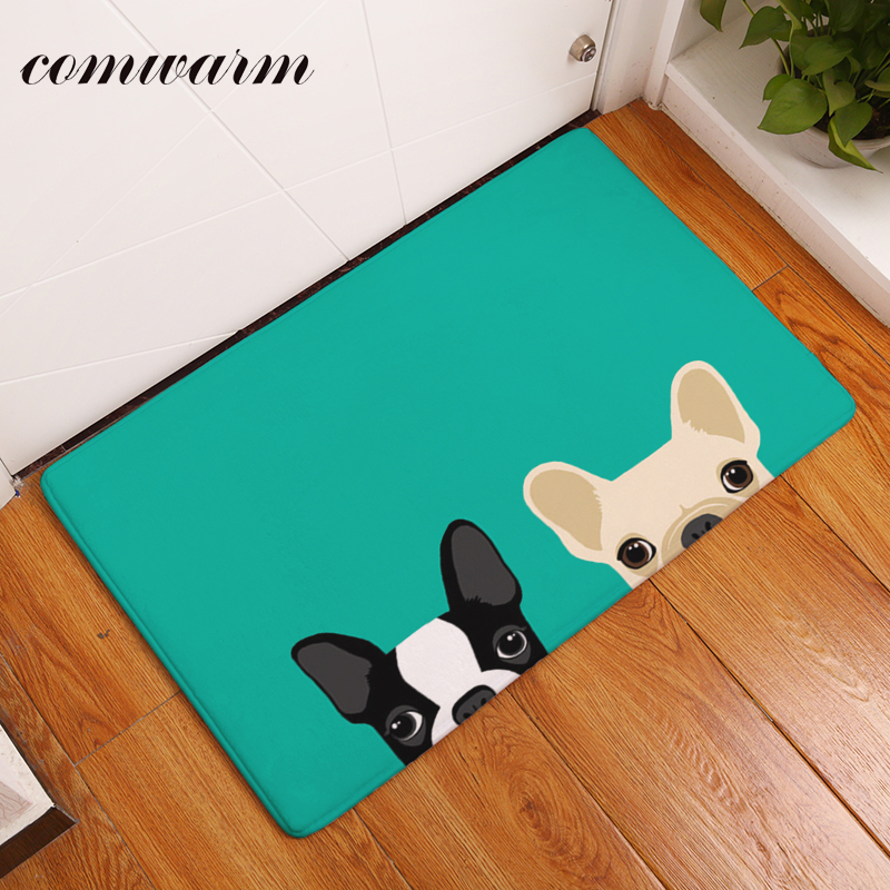 Comwarm 40*60cm Light Thin Anti Slip Mats Brief Cute Cartoon Bulldog Puppy Dog Mats Welcome Home Entrance Door Floor Flannel Rug