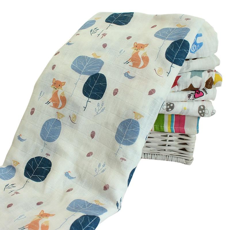 Muslin Baby Blanket Muslin Baby Cartoon Cute Swaddling Blanket Newborn Infant Cotton Spring Autumn Warm Swaddle Towel