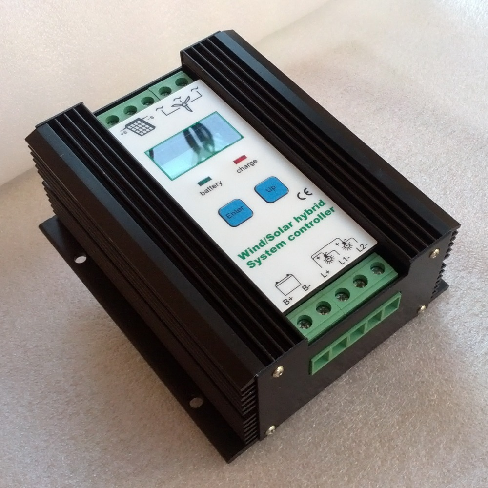 1200W Wind Solar Hybrid Boost Charge Controller 12V 24V apply for 800W 500W 600W wind turbine generator & 400W 300W solar panels 600w wind solar hybrid controller 400w wind turbine 200w solar panel charge controller 12v 24v auto with big lcd display