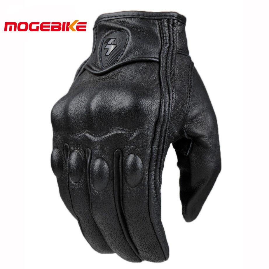 Retro búsqueda perforado Real guantes de cuero de la motocicleta de la Moto impermeable guantes de la motocicleta protector engranajes Motocross guantes