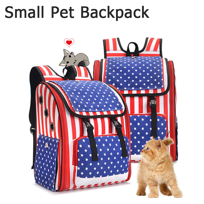 Fashion Pet Carrier Backpack Cat Transporter Bag Canvas Breathable Stripes Carrying Bags For Cats Small Dogs Pets Outside Travel