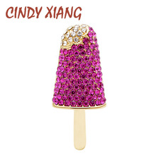 CINDY XIANG 3 Colors Choose Rhinestone Ice-cream Brooches for Women Summer Style Fashion Pins Creative Coat Accessories New 2019