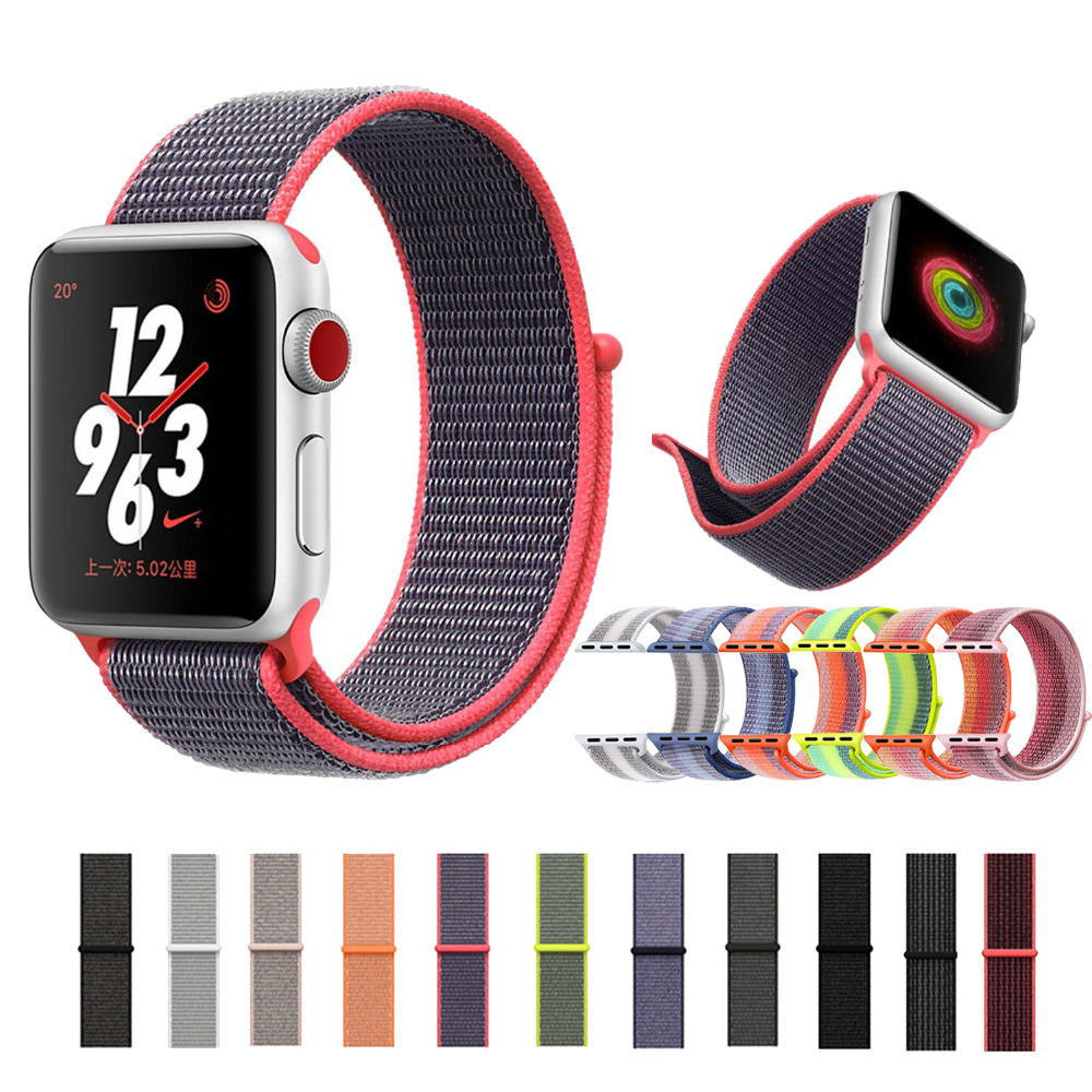 Sport loop band for apple watch strap 38/42 mm bracelet belt Nylon watchband for iwatch 3/2/1 band Soft lightweight breathable
