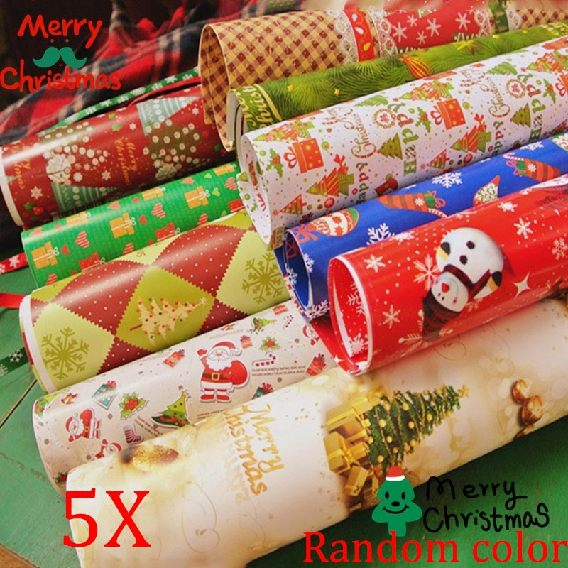 5pcs Wrapping Paper Gift Wrap Artware Packing Package Paper Christmas Paper 8 XHC88