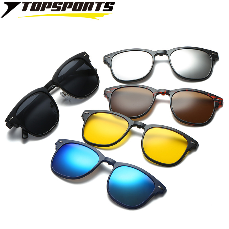 TOPSPORTS <font><b>5</b></font> <font><b>lens</b></font> Polarized <font><b>Clip</b></font> On <font><b>Sunglasses</b></font> Men optical myopia frame Glasses driving <font><b>Magnet</b></font> women prescription Eyeglasses image
