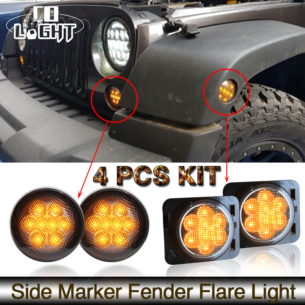 COLIGHT 4Pcs 2000K Front Fender Lights 3000K for Jeep Wrangler Jk 2007 to 2015 Clearance Lights Turn Signal 2 pcs black car styling parts front rear grab bar handles for jeep wrangler jk 2007 2017 new fashion upgraded