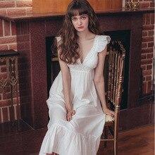 2020 Hot Tuần Trăng Mật Váy Ngủ Gợi Cảm Sâu Cổ Chữ V Ren Cotton Nữ Đêm Mùa Hè Mặc Nhà Áo Thanh Lịch Váy Ngủ
