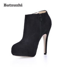 Sexy Women Boots Black Suede High Heel Ankle Boots Ladies Party Shoes Handmade Botas Mujer Winter Women Shoes Botas Mujer-X 2019 new sexy winter boots suede platform ankle boots ladies chunky high heel boots women shoes zip black fur plush boat mujer