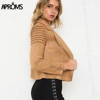 Aproms Khaki Soft Suede Ruched Casual Jacket Women Autumn Winter Zipper Basic Biker Jackets Slim Coats