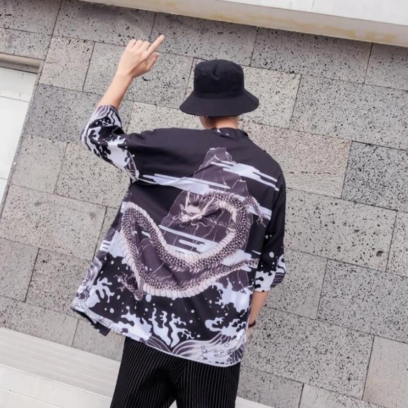 #4354 Primavera Estate Uomo Camicia Kimono Drago Cinese Di Stampa Del Punto Aperto Di Casual Hip Hop Streetwear Harajuku Tunica Camicia Maschile M-xxl