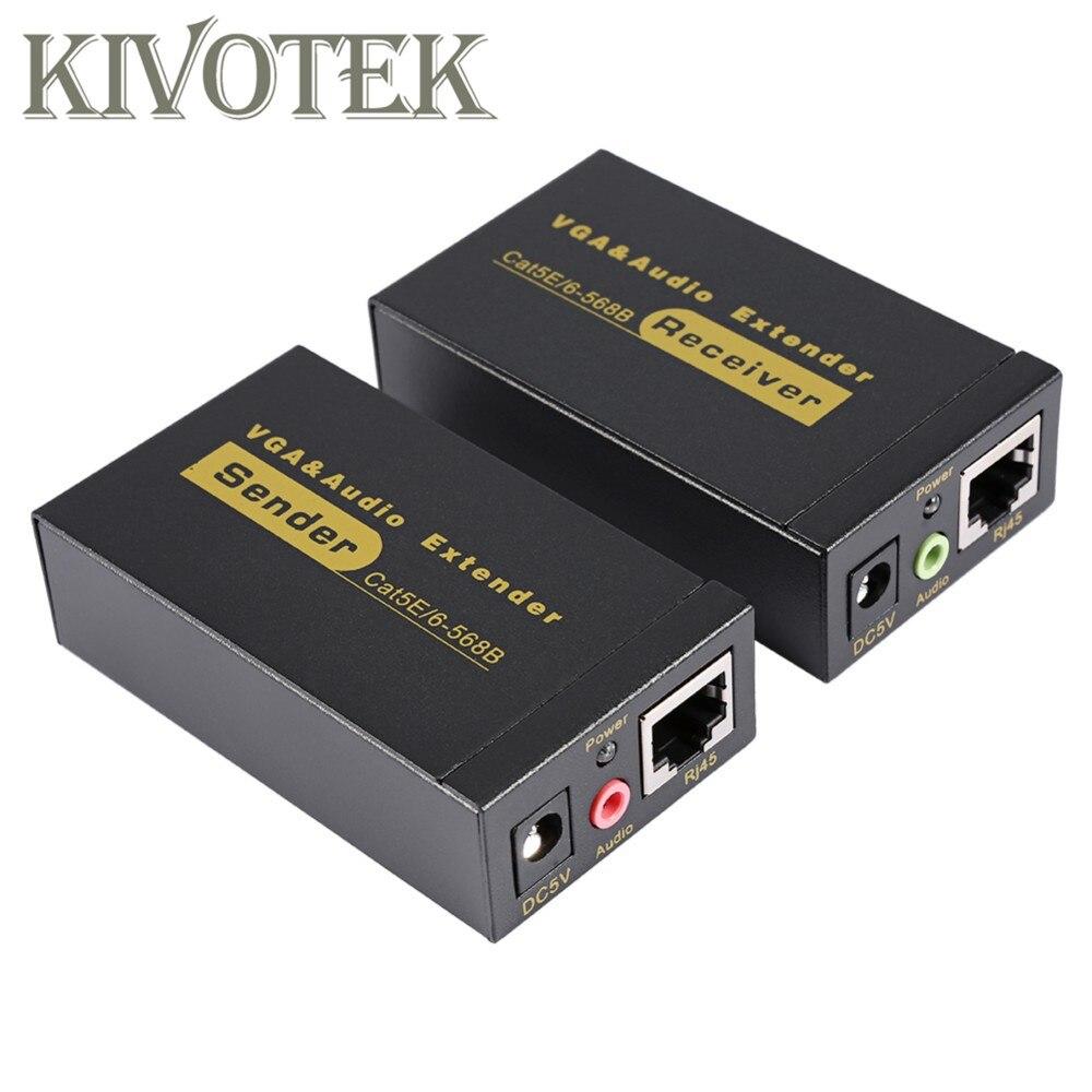 Adaptateur d'extension VGA VGA, SVGA, XGA, UXGA Extension d'émetteur VGA 100 m par connecteur Lan CAT5e/6 RJ45, pour CCTV, HDTV livraison gratuite - 2