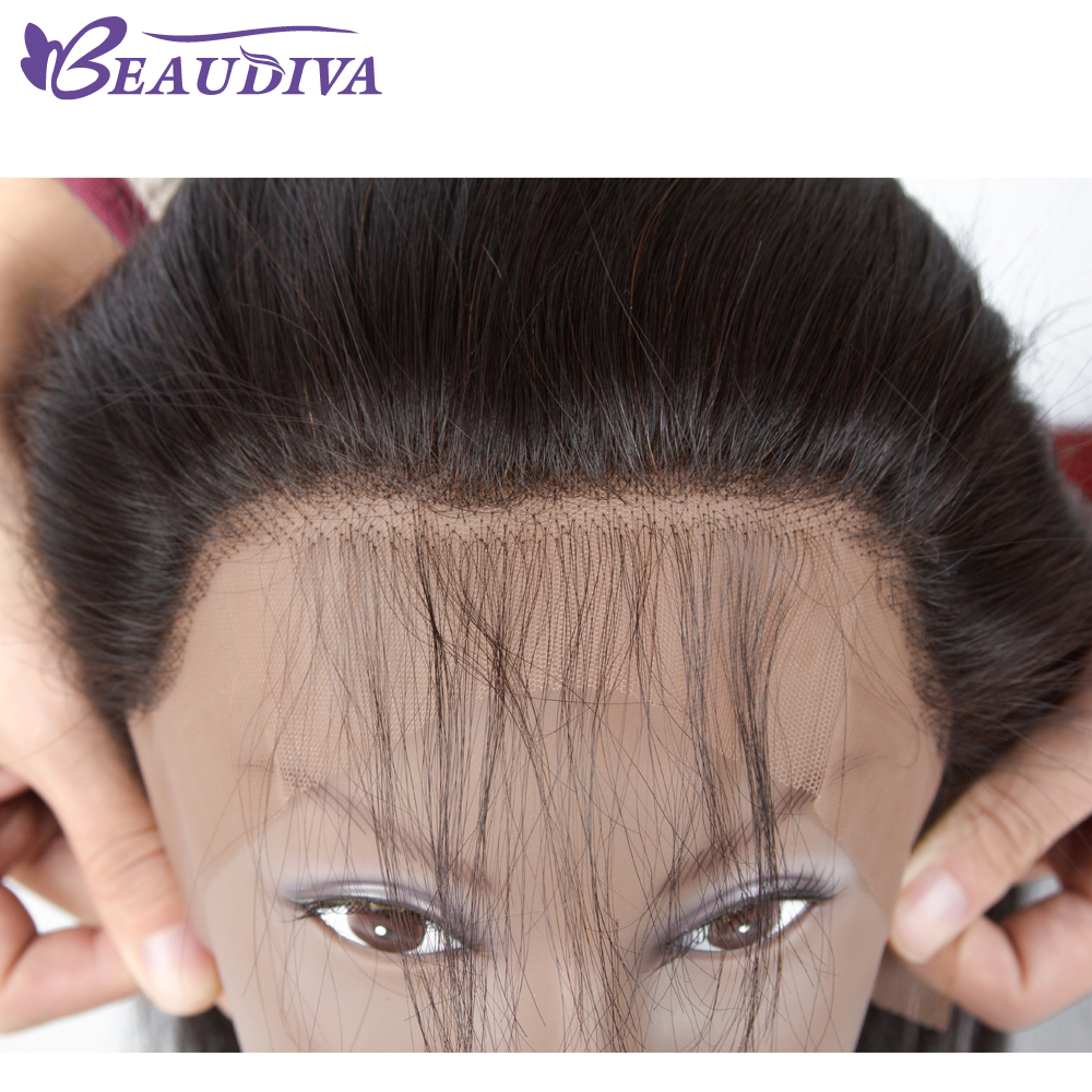 BEAUDIVA Pre-Colored Ear to Ear Lace Frontal Closure 13X4 with Baby Hair Brazilian Straight Human Hair Free Part 100% Human Hair