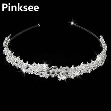 Baroque Vintage Rhinestone Flower Bridal Crowns Handmade Tiara Headband Crystal Diadem Crown Wedding Hair Accessories