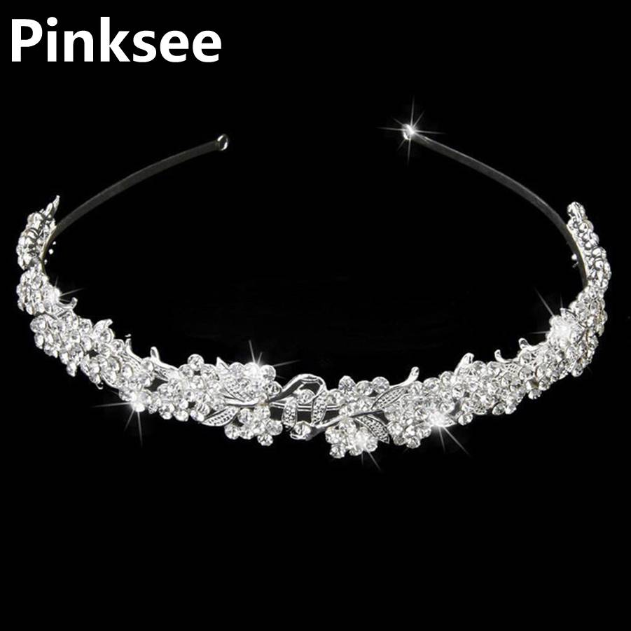 Baroque Vintage Rhinestone Flower Bridal Crowns Handmade Tiara Headband Crystal Diadem Crown Wedding Hair Accessories