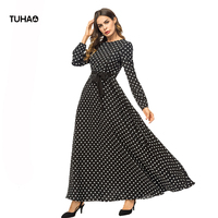 TUHAO 2018 Autumn Polka Dot Dresses Women High Waist Casual Middle Eastern Muslim Robes Femme Long Maxi Dress With Sashes TA7376