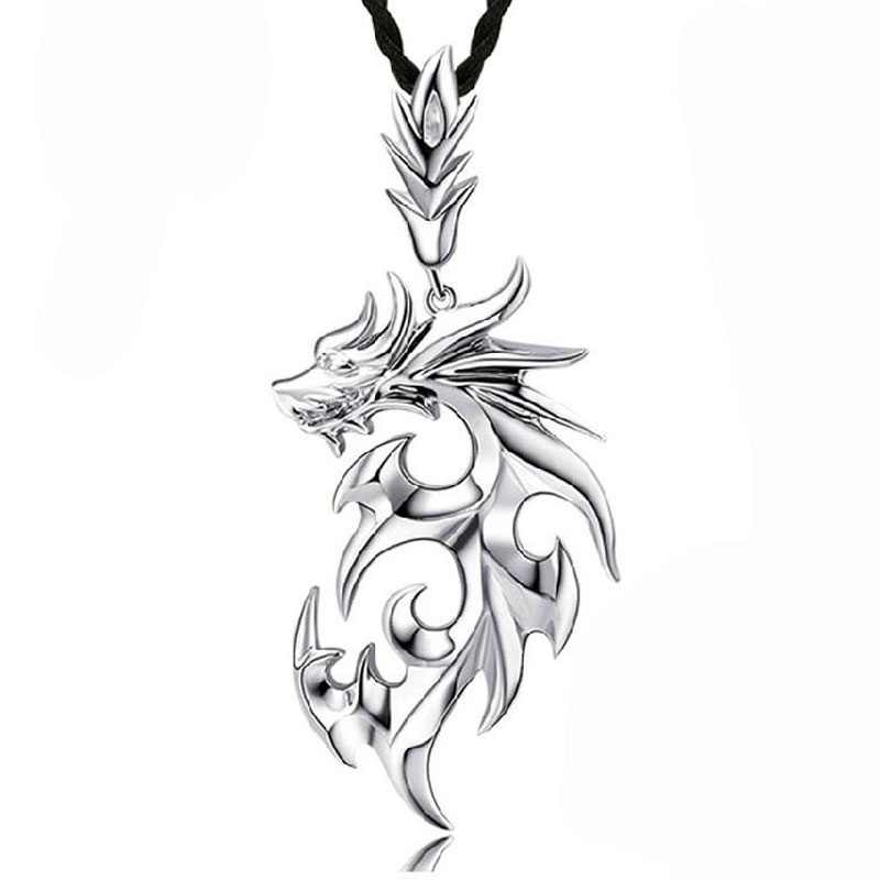 1 pcs New Arrival Silver Necklaces Men/Brand Dragon Pendant Necklaces Fashion Jewelry collares largos