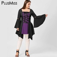 GIYI Plus Size 5XL Vintage Lace Up Gothic Lolita Top Ladies Flare Bell Sleeve Blouse Shirt