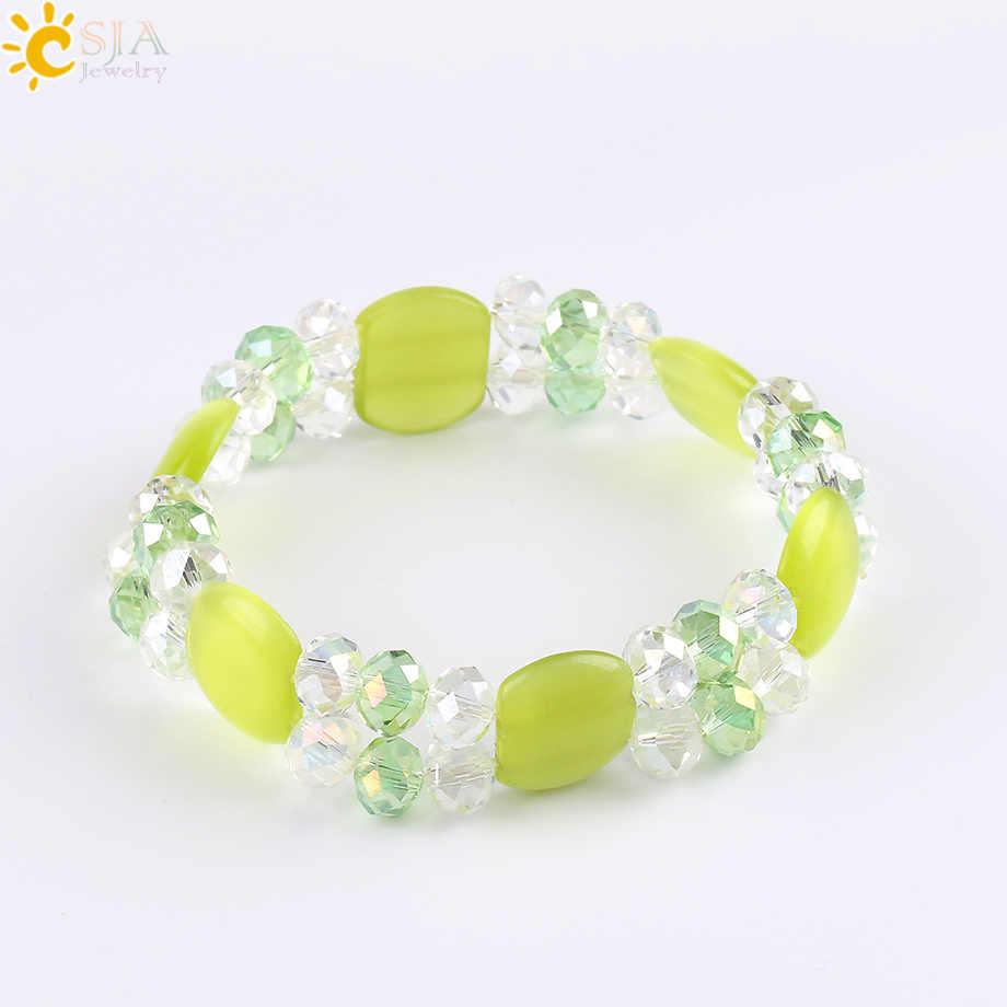 CSJA Boho bijoux œil de chat femmes Bracelets bracelet naturel vert jaune bleu pierre gemme perle arc-en-ciel Reiki chaîne cristal charme E558