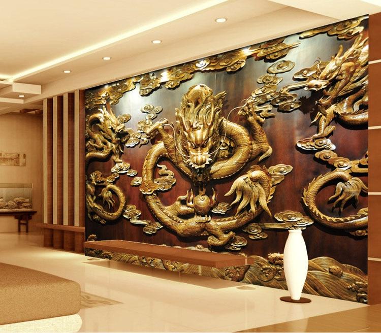 Custom 3D Wallpaper Wood carving Dragon Photo wallpaper Chinese ...