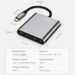 Image 5 - Hagibis USB C HDMI Adapter Type C to HDMI 4K Dual HDMI For MacBook Samsung Galaxy S9/S8 Huawei Mate 20/P20 Pro USB C To HDMI