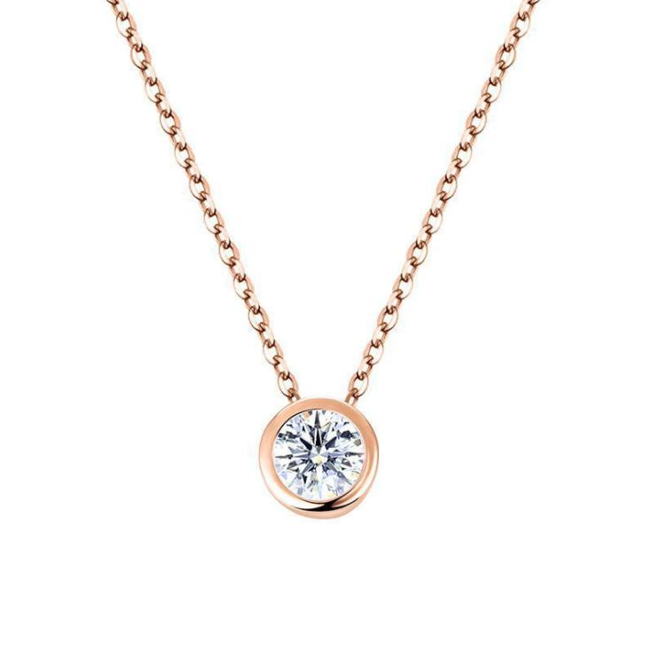 Double Fair Simple Style 2 Carat Cubic Zirconia Necklaces &Pendants Rose Gold Color Fashion Jewelry For Women Chain Accessiories