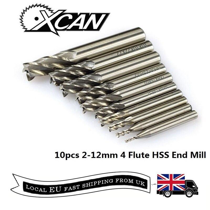 XCAN 10pcs 4 Flute HSS End Mills 2-12mm Straight Shank End Milling Cutter Spiral Acrylic Cutter CNC Router Bit