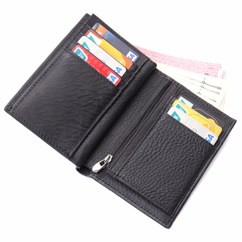 J.M.D Real Genuine Leather Black Wallets Business Mens Businee Cards Case Credit Card Package Coin Pocket Wallet 8153A