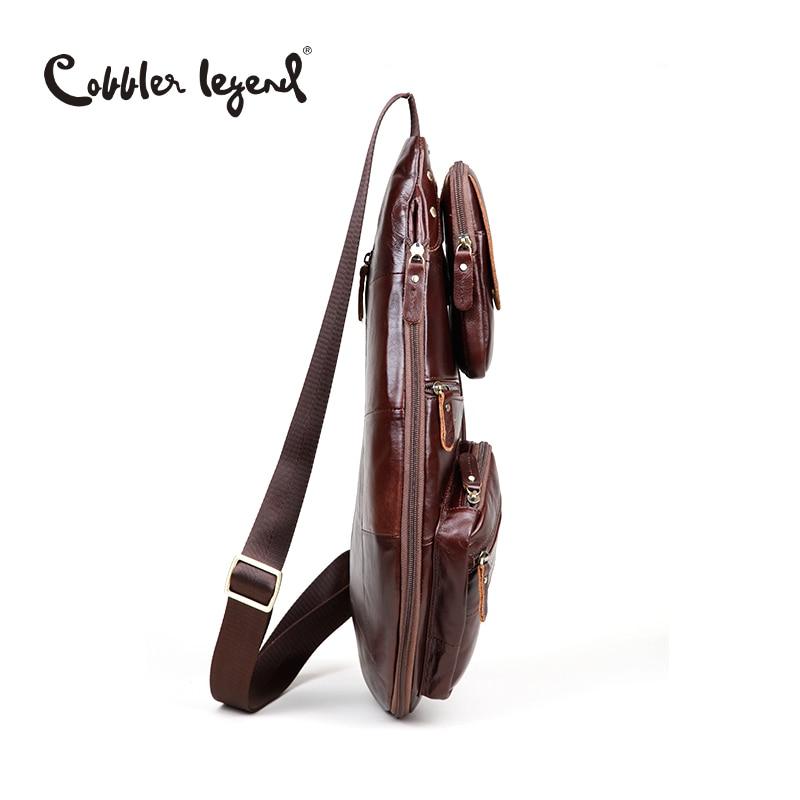 Cobbler Legend Men's Vintage Genuine Leather Travel Messenger Shoulder Bags for Men Cross Body Chest Pack Bag For Men - 6