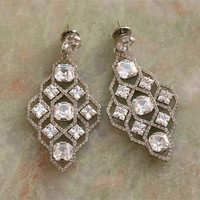 sparkling stone geometry shaped stud earrings