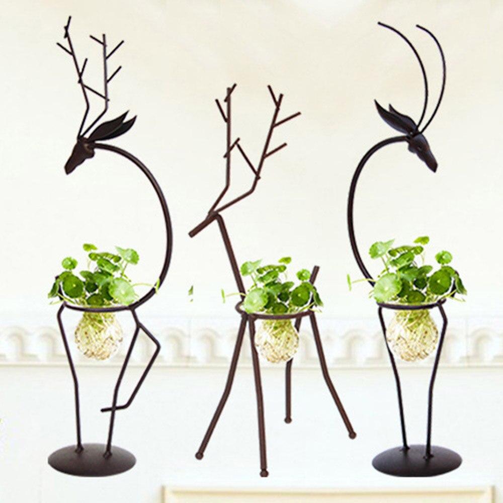 Creative Hydrocultuur Planten Transparante Glazen Vaas Met Ijzer Herten Ontwerp Stand Houder Voor Thuis Woonkamer Tafel Decoratie