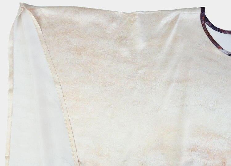 Satin Naturelle Femmes Nouveau Maison Pure 100Soie Imprimé Motif Desigual Robe D'été Taille La Plus Fleur g6f7yb